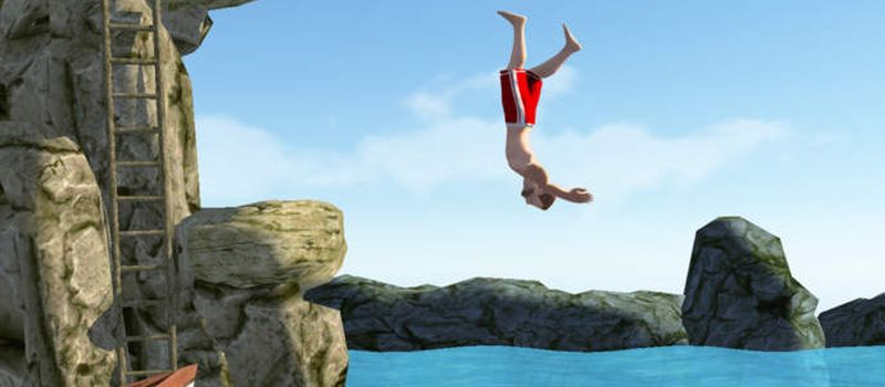 men with red shorts  - Cliff diving