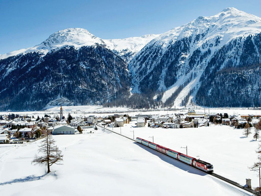 a red train - things to do in Switzerland in winter