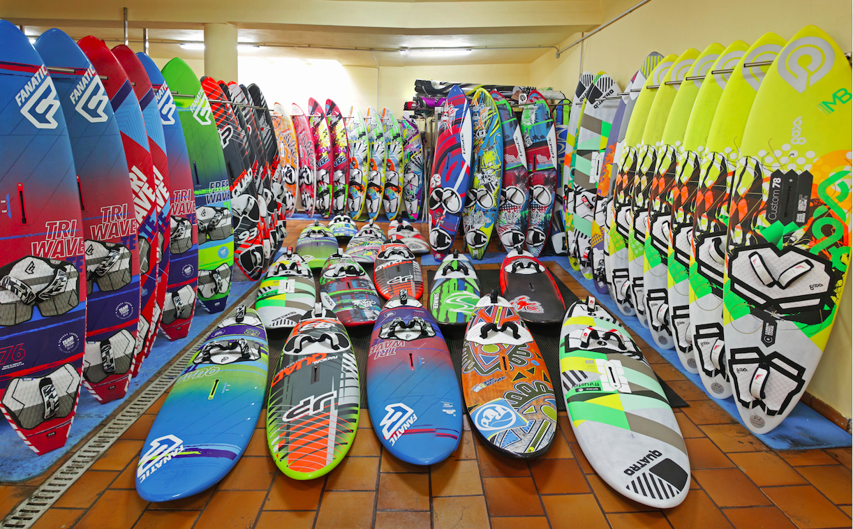 collection of windsurfing boards - windsurfing