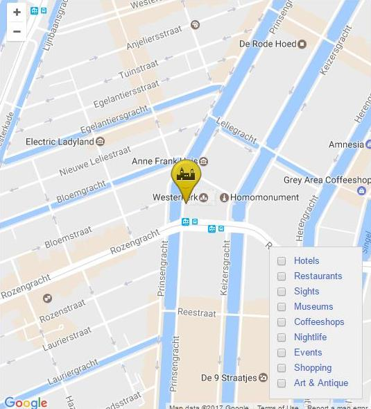 #3 of 15 Places to See in Amsterdam - The West Church Map - Places to See in Amsterdam