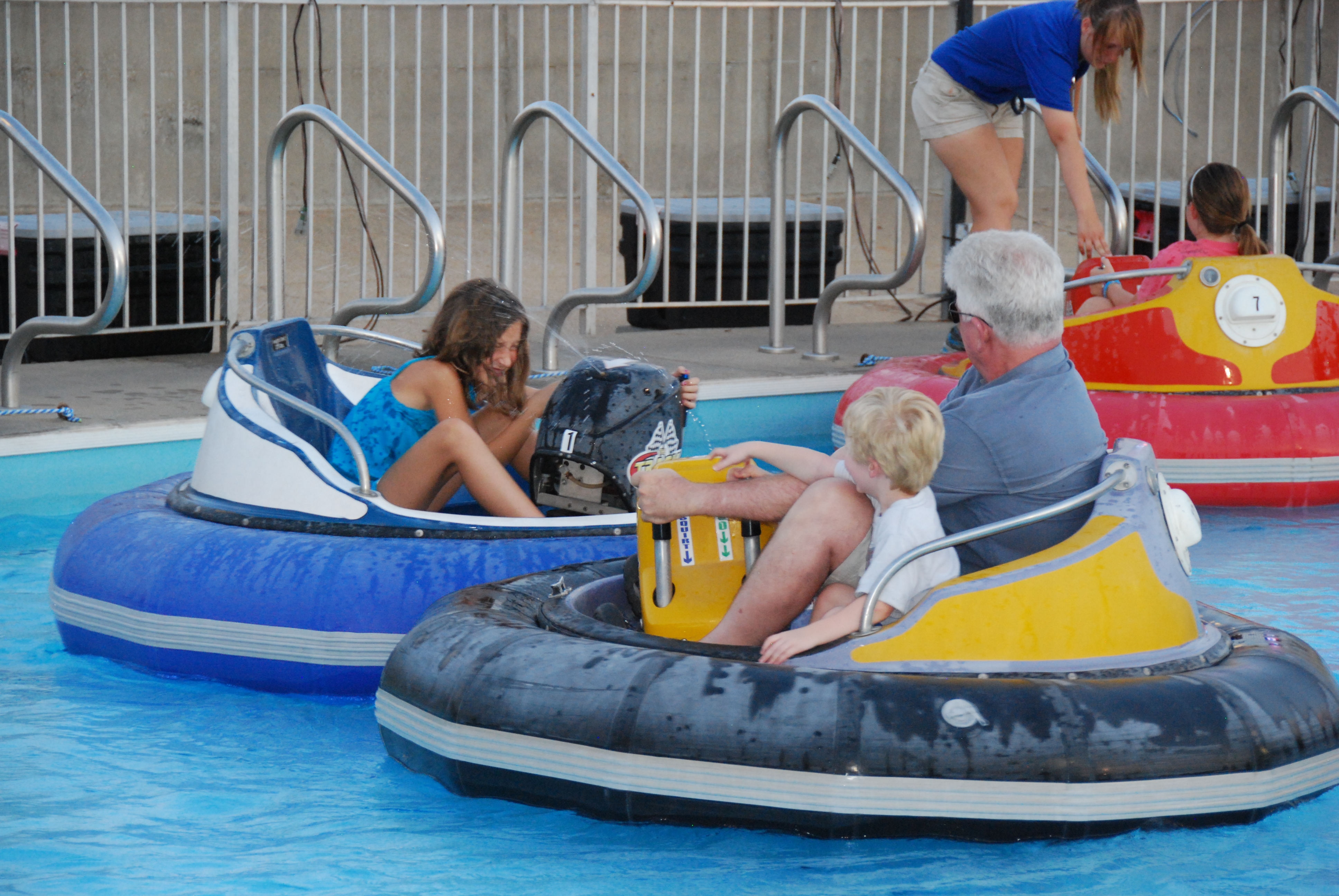 man with white hairs - bumper boats