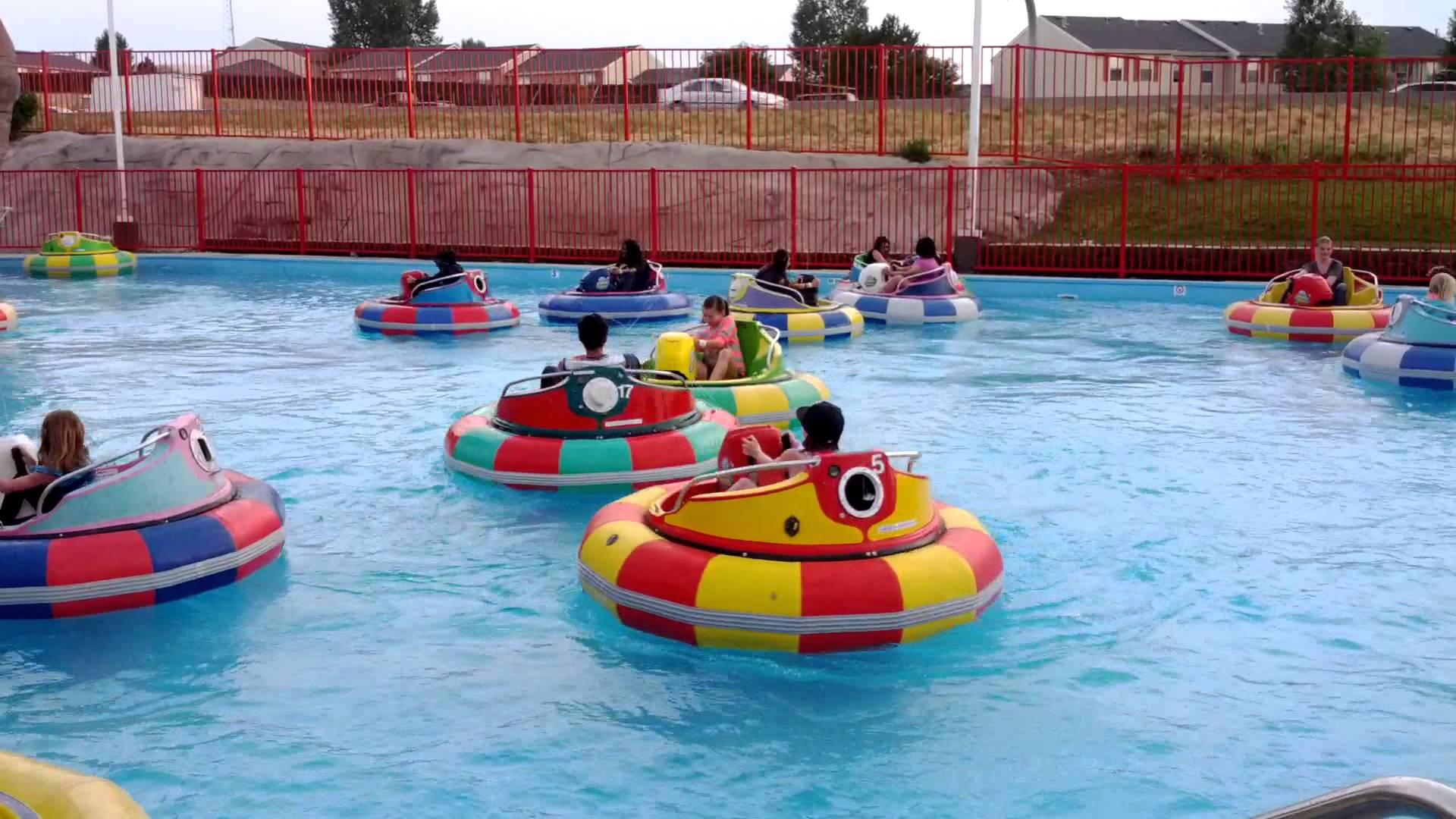red yellow bumper boats - bumper boats